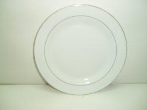 Round Silver Rim Dinner Plate-0