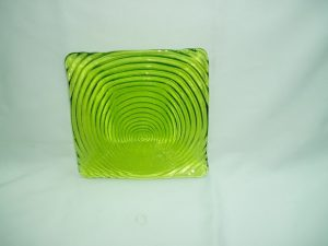 Square Green Glass Cake Plate-0