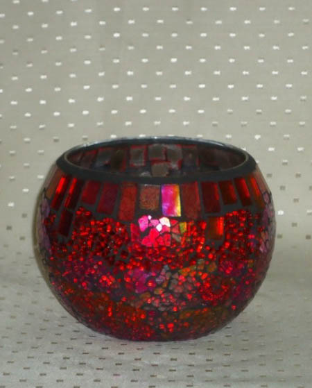 Mosaic Candle Holder Pink-0