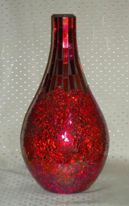 Mosaic Pink 14 Inch Bottle Candle Holder/Vase-0