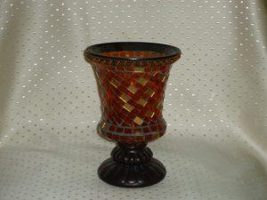 Orange Mosaic Footed Candle Holder-0