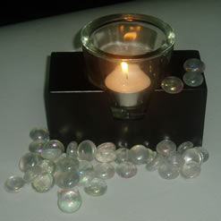 Voltive Clear Candle Holder With Wooden Base -0