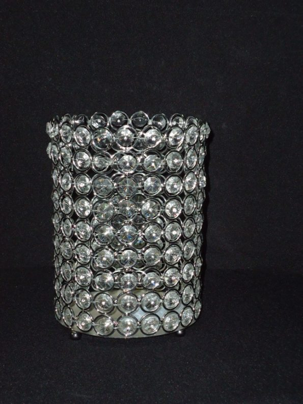 Crystal Beaded Cylindrical Candle Holders -0