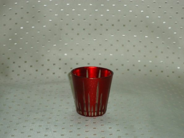 Voltive Red Candle Holder With Lines-0