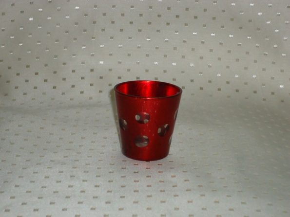 Voltive Red Candle Holder With Cirlcles-0