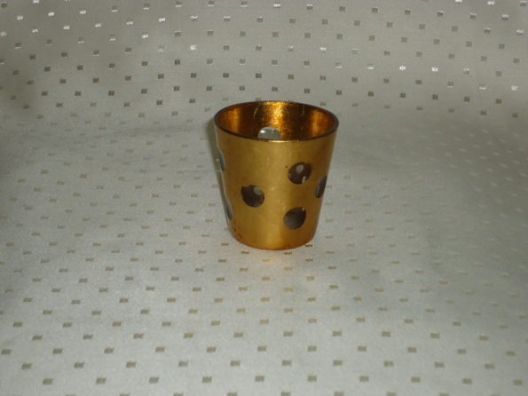 Voltive Gold Candle Holder With Circles-0