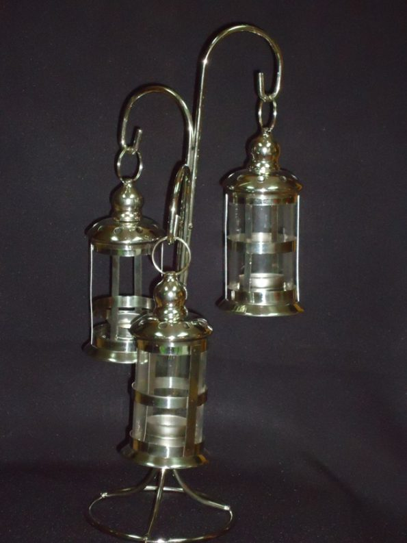 3 Tier Silver Lantern Candle Holder-0