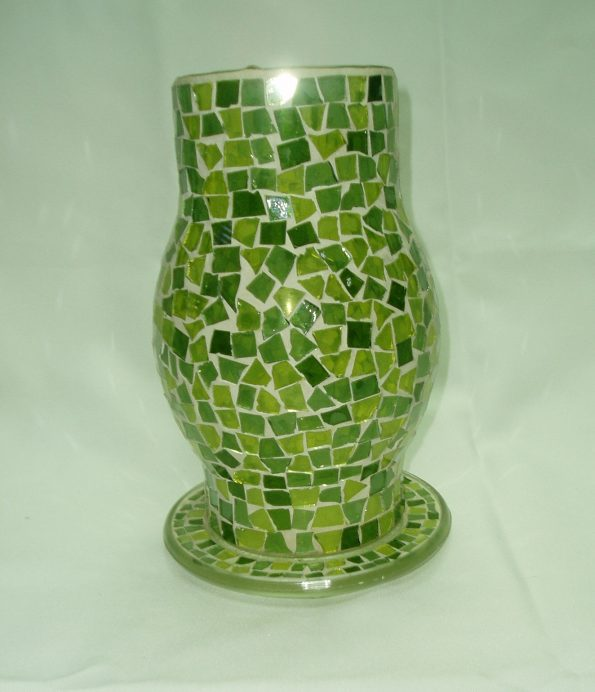 Mosaic Hurricane Shade With Saucer Green Candle Holder-0