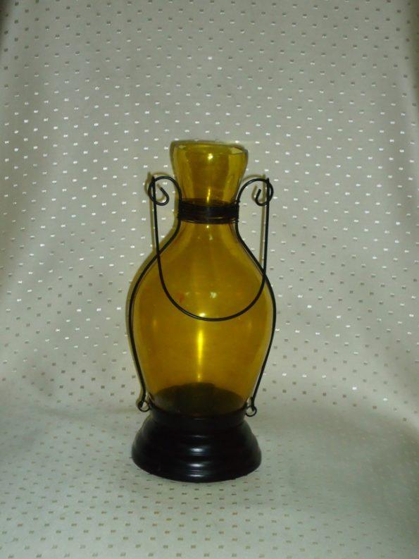 Amber Medium Bottle Candle Holder-0