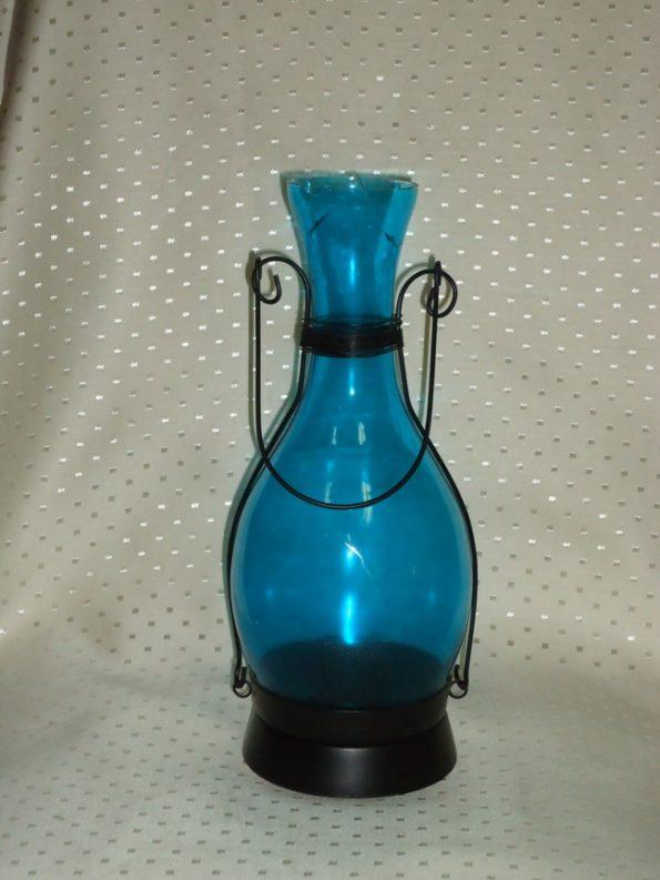 Blue Medium Bottle Candle Holder-0
