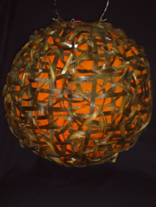 Wicker Light With Orange Lining