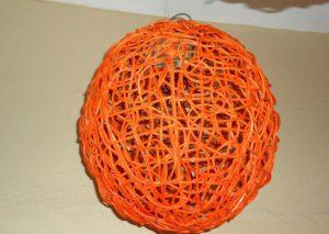 Orange Round Wicker Light-0