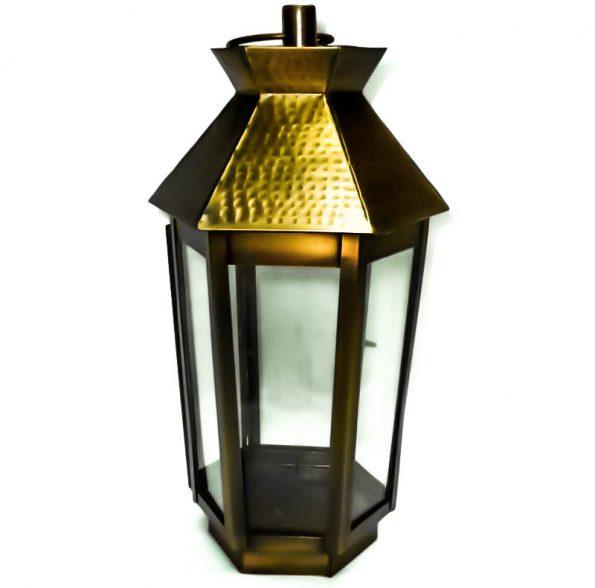 Hammered Top Copper Lantern-0