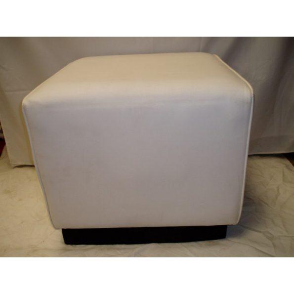 Square White Leather Ottoman-0