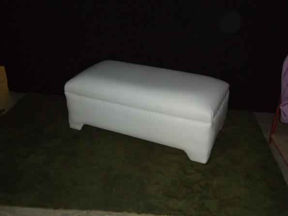 3 Seater White Leather Ottoman-0