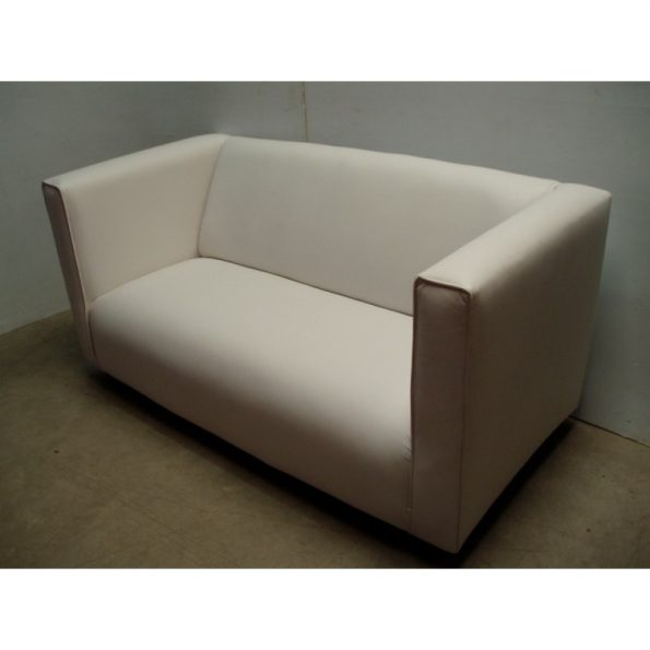 White Leather Love Seat With Arm-0