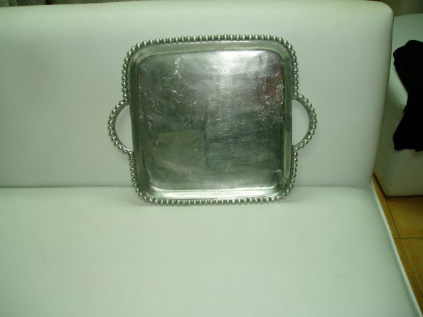 Pewter Square Platter With Handles (Large)-0