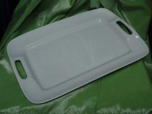 Ceramic White Rectangular Platter With Handles (Medium) -0