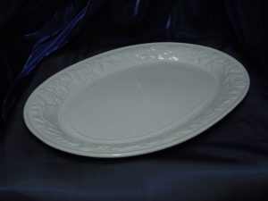 Ceramic White Oval Platter With Corn Patterns-0