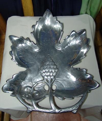 Pewter Grape Leaf Platter -0