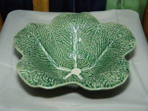 Ceramic Green Cabbage Leaf Salad Bowl-0