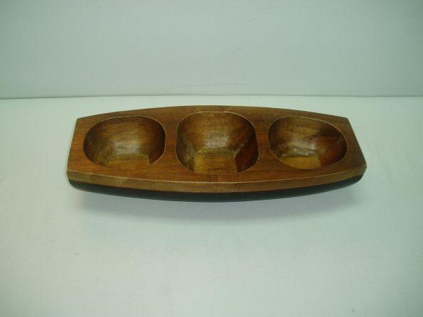 Three Compartment Wooden Salad Bowl-0