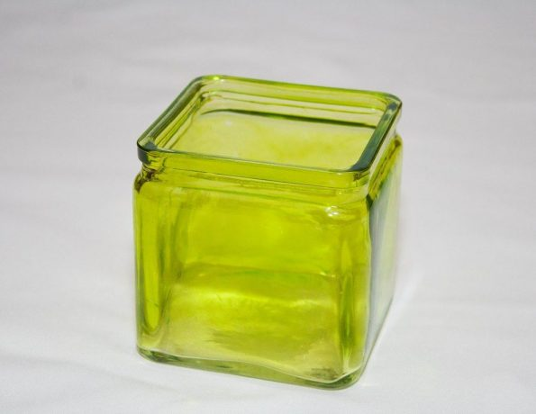 3 Inch Square Green Candle Holder -0
