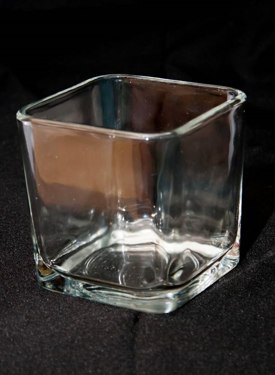 Square Clear Candle Holder Small