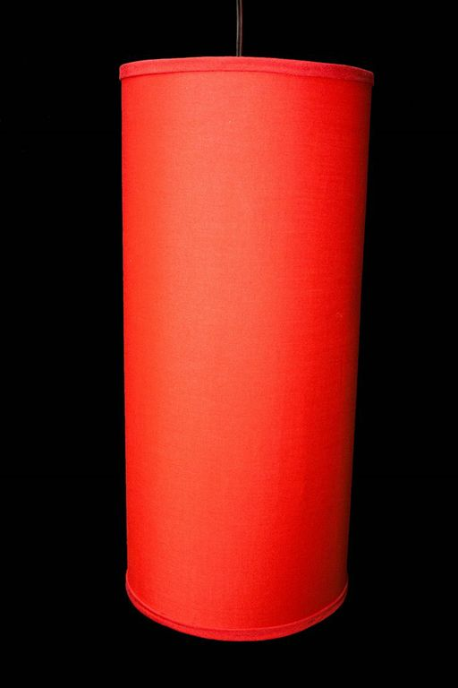 """21"""" Red Cylindrical Pendant Lamp"""