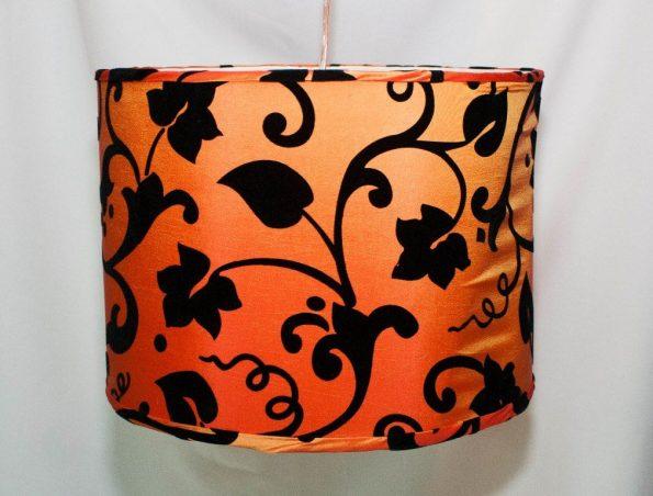 Orange & Black Floral Pendant Lamp Round