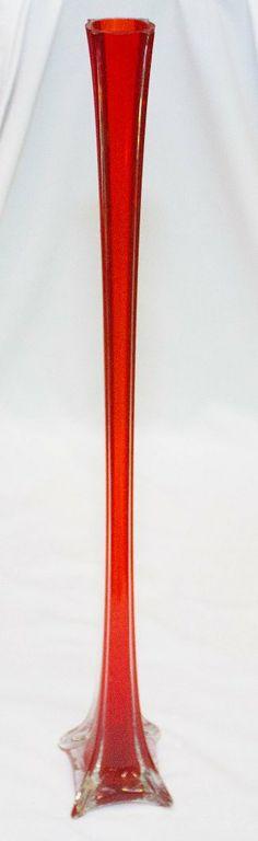 Red Slender Decorative Vase-0