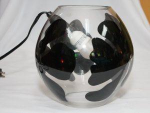 Black Floral Fish Bowl Lamp-0