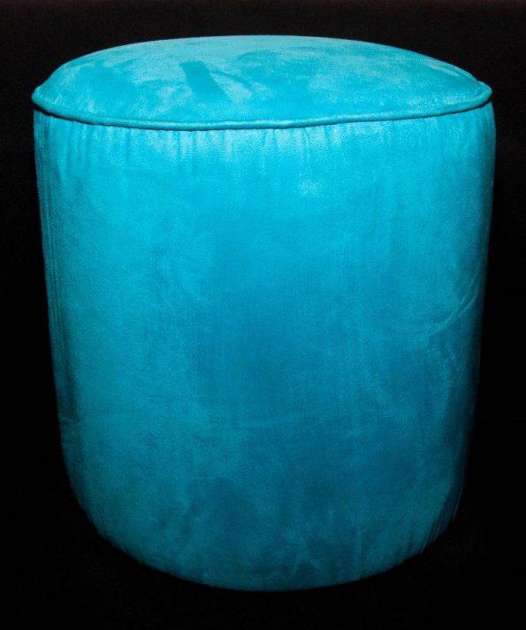 Turquoise Round Ottoman-0