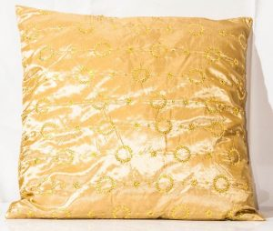 Gold With Sequin Throw Cushion-0