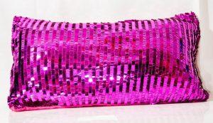 Fuschia Sequin Throw Cushion-0