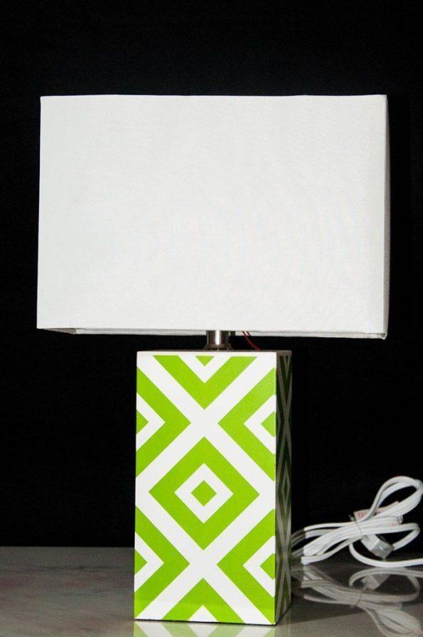 Unique Green and White Side Table Lamp-0