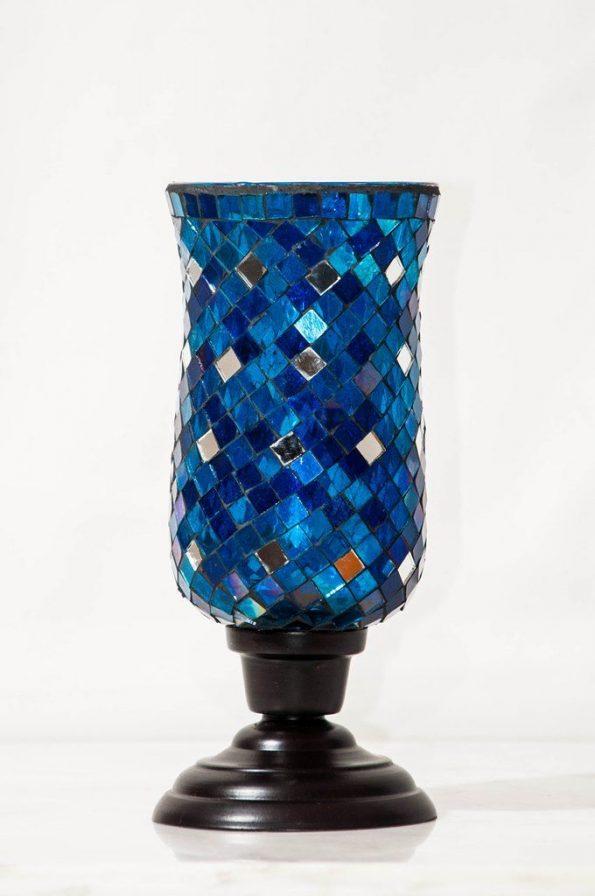 Blue Mosaic Candle Holder-0