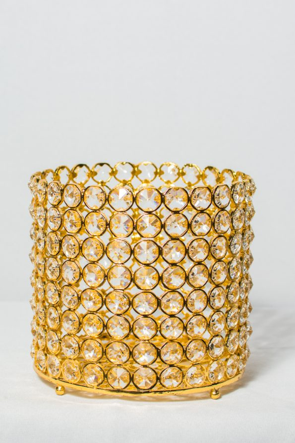 Crystal Beaded Gold Candle Holder-0