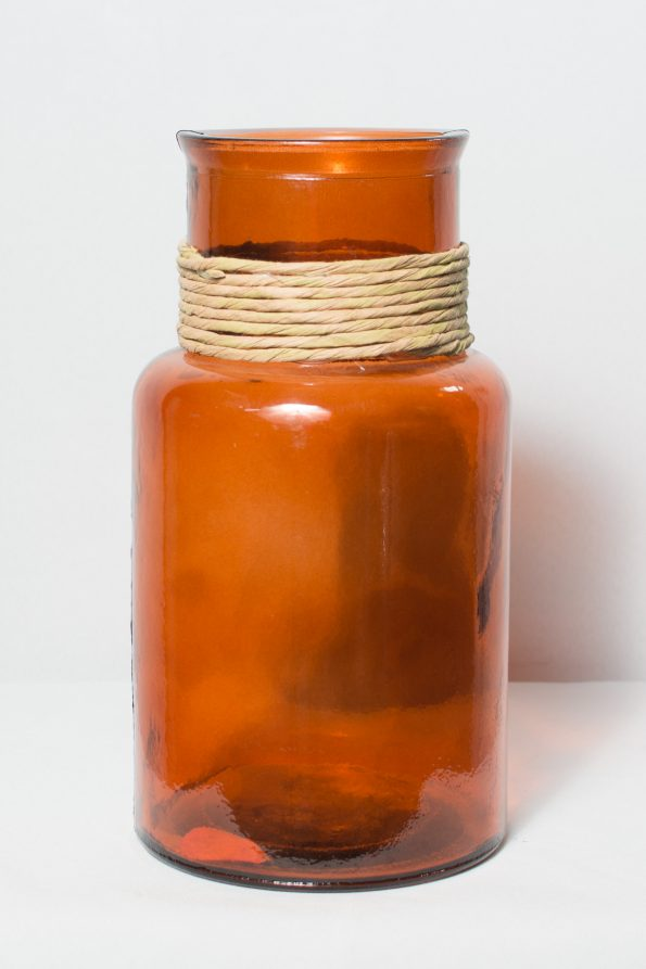 Cylindrical Orange Rope Neck Vase-0