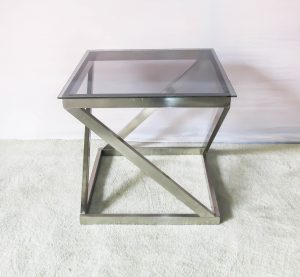 Glass Top Z Chrome Legs Side / Centre Table