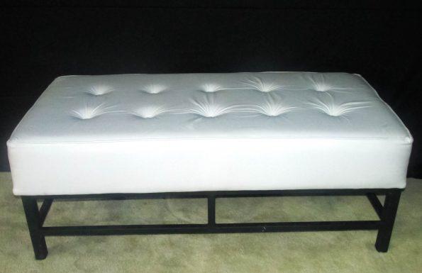 Cassanova wrought Iorn Legs White 3 seater Button Ottoman