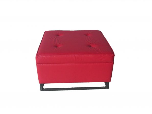 Cassanova wrought Iorn Legs Red Leather Ottoman