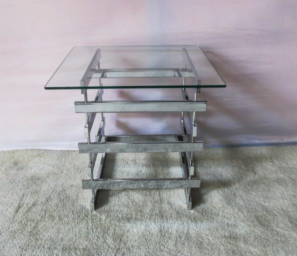 Glass Top Chrome line Side / Centre Table