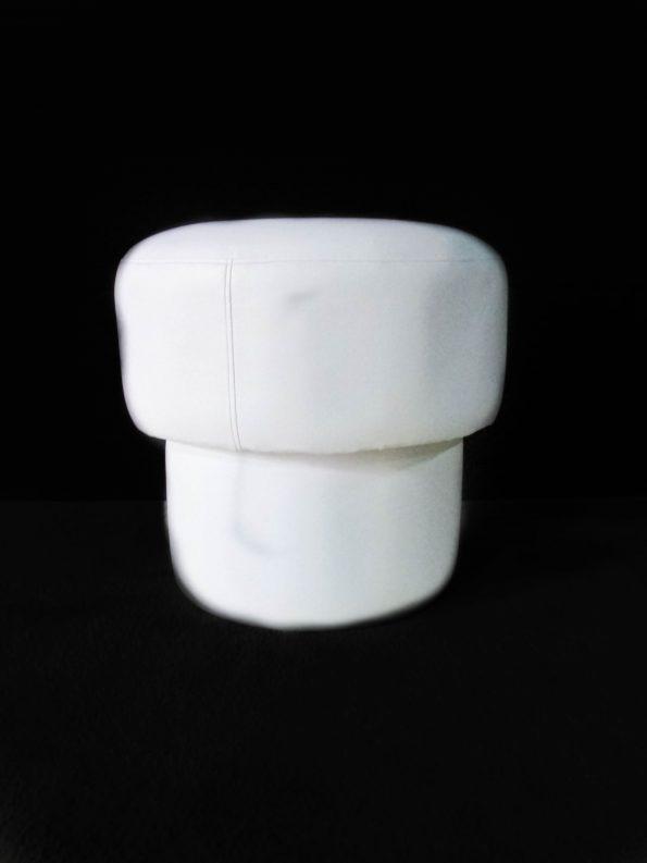 Mushroom White Leather Ottoman