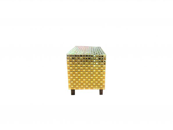 Mosaic Gold Cube Side Table