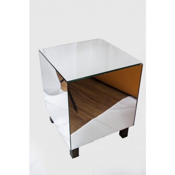 Mirror Cube Footed Side Table-0