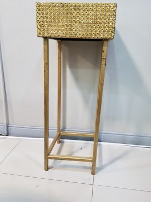 Gold Bling Planter Box Table/ Metal Leg - 3ft