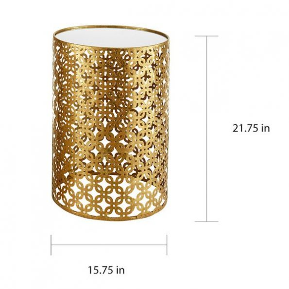 Mirrored Round Top Gold Nesting Side Tables - Small