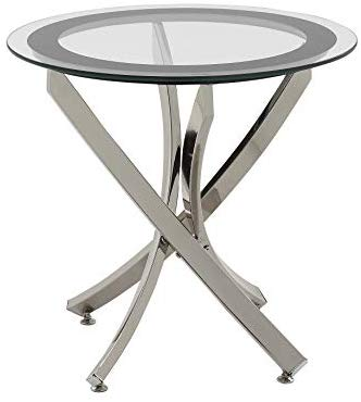 Chrome Legs w/Tempered Glass Top Side Table (BY HOUSE)