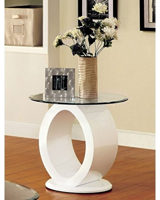 White Modine Base w/Tempered Glass Top Side Table (BY HOUSE)